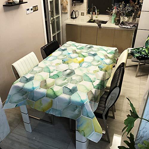 SHJIA Mantel Impermeable De Poliéster Minimalista Moderno Mantel De Mesa De Café Rectangular con Impresión Geométrica