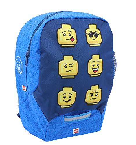 LEGO Bags Kindergarten Rucksack Faces, Leichter Kinderrucksack, Vorschulrucksack mit Lego Motiv, Kita Rucksack blau, mit großem Hauptfach, Mesh Seitentasche, Brustgurt und Namensschild innen