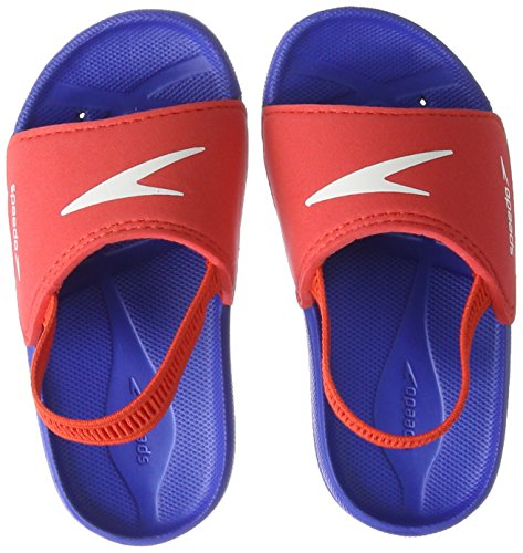 Speedo Atami Sea Squad Slide IM Zapatos de Playa y Piscina, Unisex niño, Multicolor (New Surf/Lava Red 000), 23 EU