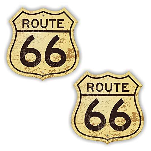 folien-zentrum 2X Route 66 USA Amerika Wappen Vintage Retro Aufkleber Shocker Hand Auto JDM Tuning Dub Decal Stickerbomb Bombing Sticker Illest Dapper Fun Oldschool