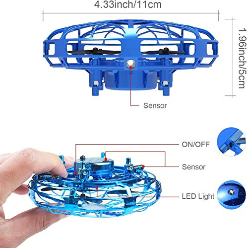 Cypin UFO Mini Drone for Kids Flying Ball Toys Hand Controlled Rechargeable Quadcopter Infrared Induction Helicopter Outdoor Aircraft Games Gifts for Boys Girls