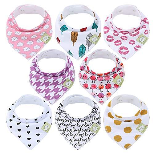 Baberos para bebé tipo bandolera para niñas - Baberos tipo pañuelo, de algodón orgánico súper absorbente - Babero para baba de bebé - Baberos para dentición (Bold Bravery)