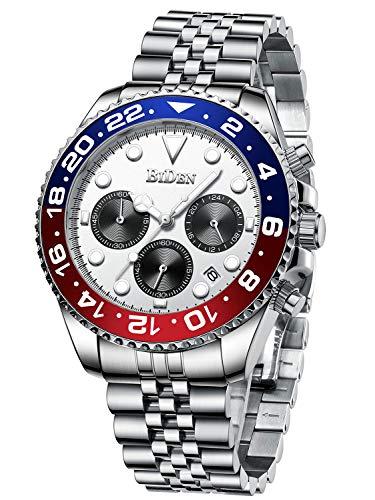 Uhr Herren Armbanduhr Wasserdicht Edelstahl Armband Date Leuchtend Business Datum für Männer-Weiß