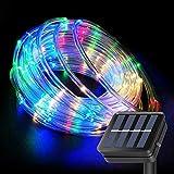 Cuerda de luces solares de 10 m, 100 luces LED de hadas con control remoto, tubo colorido de iluminación al aire libre cadena de luces para jardín, patio, puerta, patio, fiesta, decoración de boda