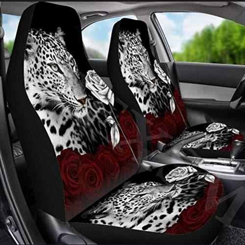 2 pezzi coprisedili anteriori accessori completi per adattamento automatico Altre auto camion Suv Van Fashion Automoive traspirante al 100% (tigre rosa B)