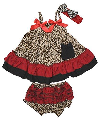 Rouge Léopard Animal Couvercle basculant bloomer Pantalon Tenue de bébé fille Vêtements Nb-24 m - Rouge - 0-12 mois