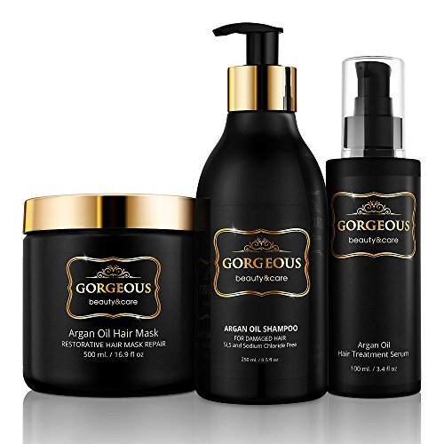 Moroccan Argan Oil Shampoo and Conditioner SLS Sulfate Free and serum Gift Set - Best for Damaged, Dry, Curly or Frizzy Hair - Thickening for Fine/Thin Hair, Safe for Color and Keratin Treated Hair