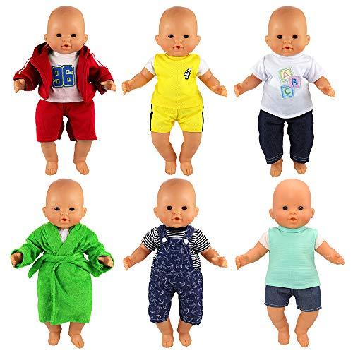 Miunana 6 Sets Kleidung Kleid Puppenkleidung Puppenoutfits Outfits für 36cm Stehpuppe Puppe 18 Inch Zoll American Girl Boyfriend Babypuppe Dolls Puppenbekleidung
