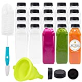 Empty PET Plastic Juice Bottles - Pack of 20 Reusable Clear Disposable Milk Bulk Containers with Funnel and Brush and Tamper Evident Caps (Black, 16 oz)