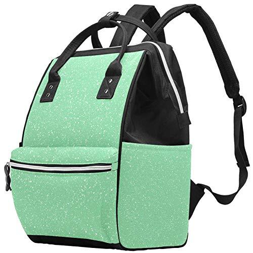 Wickeltaschen-Rucksack, Grün / Weiß gepunktet, Vintage-Stil, multifunktional, wasserdicht, für Baby-Pflege