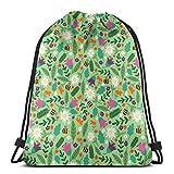 Sacs à Dos à Cordon & iexcl; & ecirc;? Floral Bee Sport Gym String Storage Sackpack