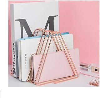 Files Folder Stand Desktop File Organizer,Triangle Copper Wire Book Shelf Magazine Rack, File Sorter Eye-catching Decorati...
