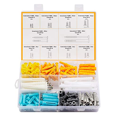 CO-Z 320pc Drywall Anchors and Screws Assortment | Wall Mount Furniture Mirror Picture Hanging Hardware Tool Kit | Self Drilling Tapping Wall Anchors and Screws for Drywall Wood Concrete Brick More