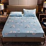 CYYyang Protector de colchón de bambú Funda de colchón y Ajustable Una Sola Pieza de sábana gruesa-22_90 * 190cm