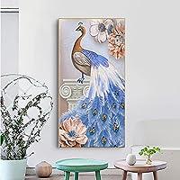 夢のような孔雀フェニックス美しい青い羽の翼神聖な鳥キャンバス絵画壁アートポスターポーチ入口リビングルームオフィス家の装飾壁画