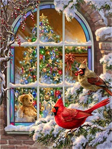 Doe-het-zelf olieverfschilderij op nummers, schilderijen, kerstboom, vogel, linnen doek, wand- kunst, grafisch schilderij voor thuis, woonkamer, kantoor, 40x50 cm met frame