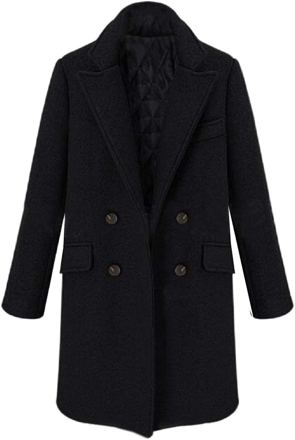 Doanpa Women's Double Breasted Classics Warm Wool Blended Worsted Coat