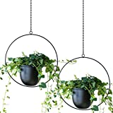 ABETREE 2 PCS Metal Hanging Planters for Indoor and Ourdoor Plants Modern Planter Minimalist Flower Pot Holder for Window Home Decor ,Black
