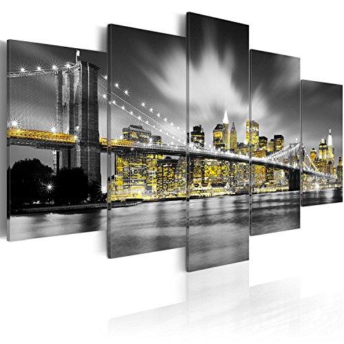 Cuadro en Lienzo 200x100 cm - 3 Tres Colores a Elegir - 5 Partes - Formato Grande - Impresion en Calidad fotografica - Cuadro en Lienzo Tejido-no Tejido - New York 030102-24 200x100 cm B&D XXL