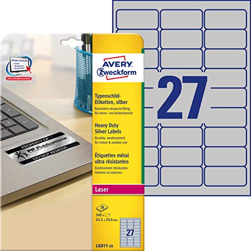 Avery Zweckform L6011-20 - Etiqueta autoadhesiva (Plata, Rectángulo redondeado, Permanente, DIN A4, Poliéster, 78 g/m²)