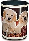 Läufer 26551 Motiv-Papierkorb Hunde, 13 Liter Mülleimer, perfekt für das Kinderzimmer, rund, stabiler Kunststoff