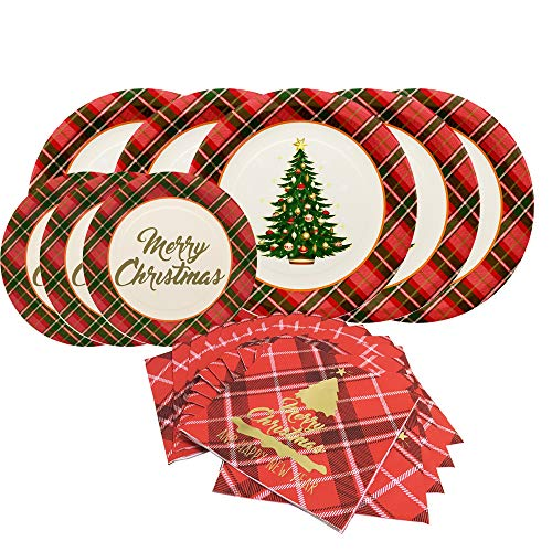 Gatherfun Christmas Party Supplies Christmas Tree Red Plaid Disposable Paper Dinner Plates Dessert Plates and Napkins for Merry Christmas Party, Serve 50