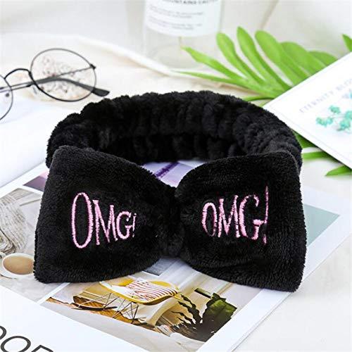 ZHAJIAN Bunte OMG Buchstaben Bogen Korallen Fleece Haarbänder für Frauen Mädchen Stirnbänder Bandanas Haarbänder Kopfbedeckung