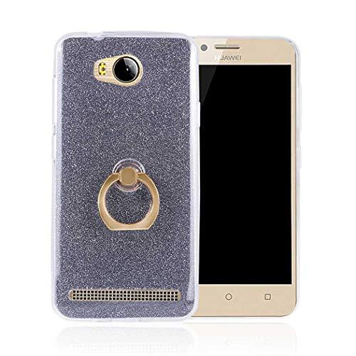 Ycloud Soft Silikon TPU Hülle für Huawei Y3 II Smartphone, Funkeln Glitzer Handyhülle mit Ring-Schnalle Ständer Entwurf Ultra Slim Back Cover (Schwarz)