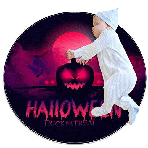 Doormat for Indoor Outdoor, Halloween Bloody Moon Pumpkin, No-Slip Machine Washable Round Mat, 39.4 in