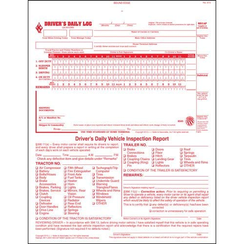 2-In-1 Driver Daily Log Book 5-pk. with Detailed Driver Vehicle Inspection Report & Simplified Recap - Book Format, 2-Ply Carbonless, 8.5