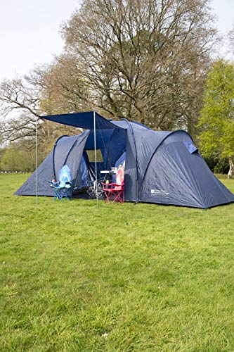 Mountain Warehouse Holiday 6 Man Tent - Water Resistant Sleeping Tent, 3 Rooms Sleeping Tent, Groundsheet, Fibreglass Poles, Fly Sheet Festival Tent - For Camping, Beach Blue