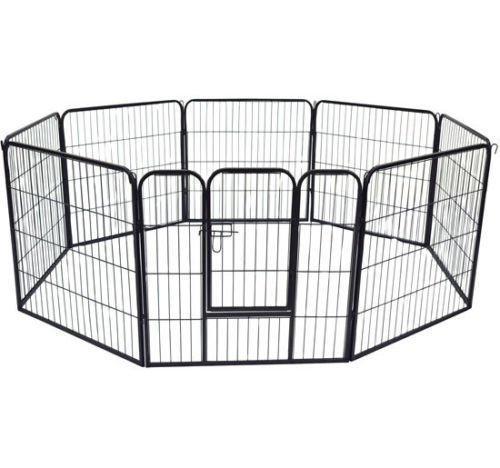 HOMCOM Parque Mascotas Valla 8 Piezas 80x80cm + Puerta Entrenamiento Perros