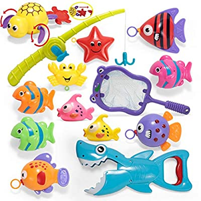 JOYIN 14 Pcs Fishing Bath Toy Set with Pole Rod, Fish Net, Shark Toy Grabber, Windup Toy and Floating Fish Baby Bath Toy Bathtub Pool Toy for Toddler Kids