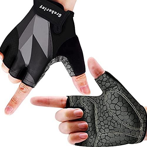 Grebarley Fahrradhandschuhe, Radsporthandschuhe rutschfeste und Stoßdämpfende MTB Handschuhe mit geeiget Unisex Herren Damen