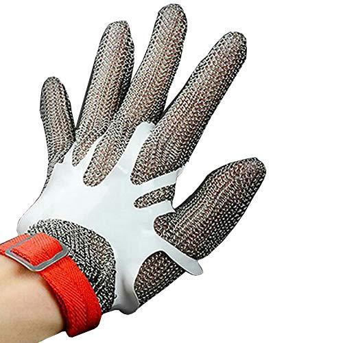 Schnittfeste Handschuhe 304L Cut Resistant, Lebensmittelverarbeitung Und Fleischverarbeitungsanlage Werkstatt Sicherheitsarbeiten Handschuhe, 6 Größen (Size : Large)