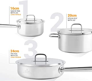 Buffalo ATSPOTSET Tri-Ply 6 Piece Stainless Steel Premium Cookware Set