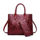 Coolives Bolsos de Mano con Bandolera per Mujer Estampado de Flores Bolsos de Hombro Vino Rojo