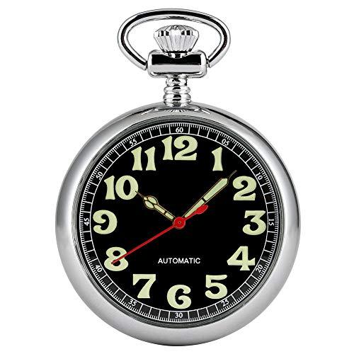 Klassische Silberne runde Taschenuhr für Herren Praktische Automatik mechanische Taschenuhr Taschenuhren für Damen Leuchtzeiger Anhänger Uhr für Jungen
