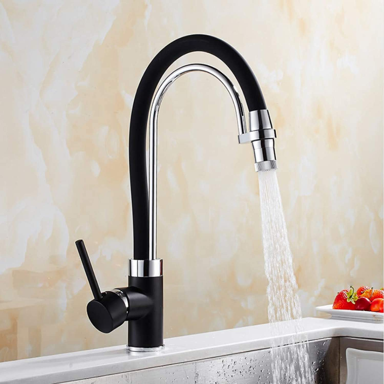 Lddpl Tap New Arrival Black Kitchen Faucet Single Hole Deck Mounted Faucet Pull Down Kitchen Sink Tap