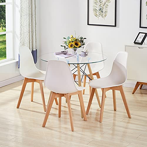 GOLDFAN Glass Dining Table and Set 4 Plastic Chairs Kitchen Table Modern Wood Round Dining Room Set, 80cm, All White