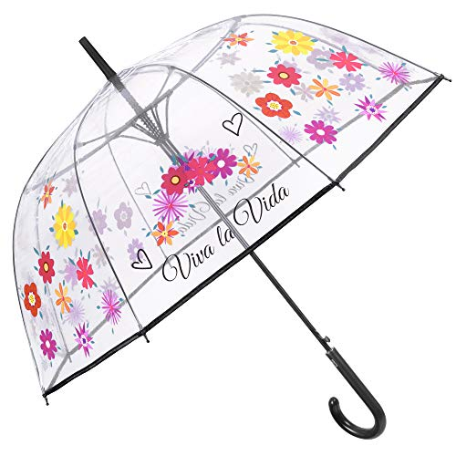 Transparent Stockschirm Blumen Damen - Durchsichtiger Blüten Kuppel Regenschirm - Sturmfest Windsicher Automatik Schirm Viva La Vida Ducke - PEG Material - Durchmesser 89 cm - Perletti