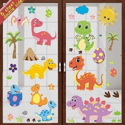DIYASY 90 Pcs Dinosaur Window Decals for Kids Room Window Decoration,Dino Removable Window Clings Stickers for Boy and Nursery Room Decor.