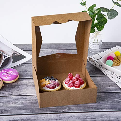 "[25pcs]8""Brown Bakery Pie Boxes,ONE MORE Kraft Cardboard Cookie Box with Window Auto-Popup Natural Disposable Pastries Boxes 8x8x2.5inch,Pack of 25"
