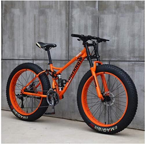 MKWEY 26 Pouces VTT Homme Femme, Bikes Vélo Hardtail Fat Tire, Double Cadre de Suspension et Fourche à Suspension Tout Terrain,7 Speed,Orange Spoke