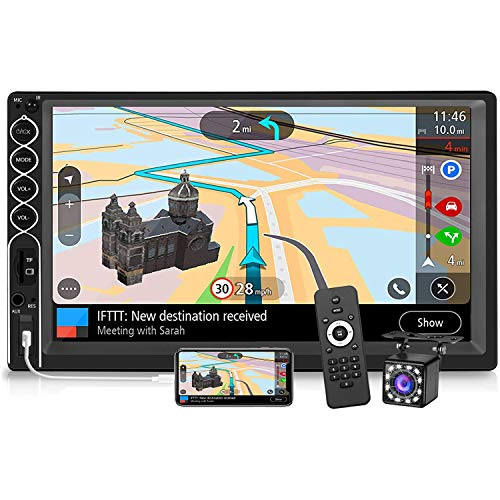 Double Din Stereo 7 Inch Touchscreen Car Radio with Backup Camera, 2 Din Car Stereo Audio Receiver MP5/4/3 Player with Bluetooth Hands-Free, Phone Mirror Link, USB/TF/AUX Port
