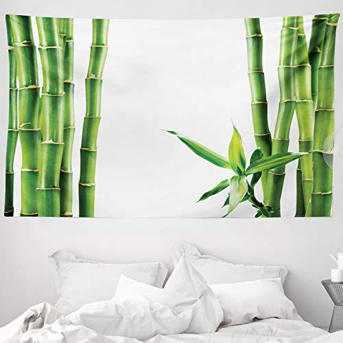 ABAKUHAUS Asiático Tapiz de Pared y Cubrecama Suave, Ramas de Bambú Tallos Cañas Plantas Tropicales Follaje Natural Fengshui, Lavable Colores No Destiñen, 230 x 140 cm, Verde Hoja