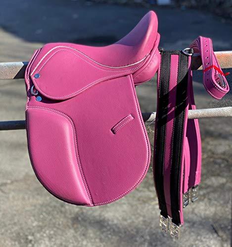 Countrypride Equipride GP Sattel Pony-Sattel, Kunstleder, mit passendem Gurt, Leder und Steigbügel, Pink, Größe 33 cm – 43,2 cm (40,6 cm)