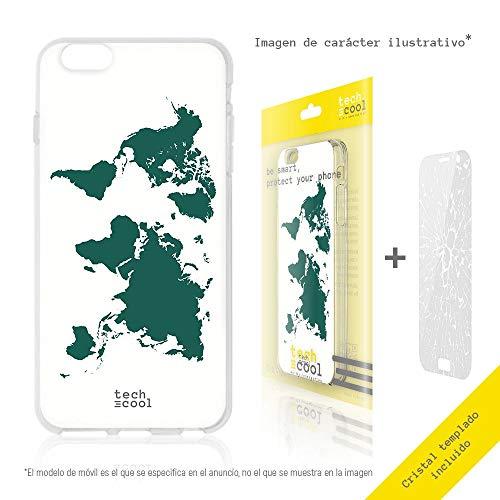 Funnytech beschermhoes voor Huawei P9 Lite van siliconen (TPU) voor Huawei P9 Lite [exclusief design, druk in hoge resolutie] [kaart Tierra achtergrond Blanco]