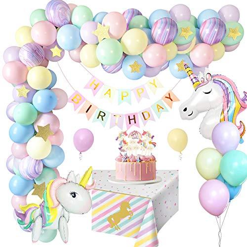 MMTX Einhorn Geburtstagsdeko Mädchen, Pastell Geburtstags deko Luftballons mit riesigem 3D-Einhorn Luftballons, Happy Birthday Girlanden, Tischdecke Kindergeburtstag deko Kinder Junge Dekor MEHRWEG