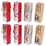 Christmas Bottle Bags, Paper Bottle Bags for Gifts Christmas, 8 Pcs Xmas Gift Bags for Christmas Party Festival Presents Package Home Decoration with Handle Xmas Pattern